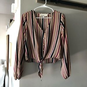 Striped tie top blouse